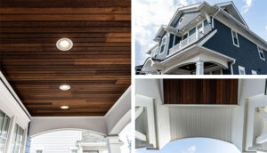 NJ Custom home builder finished porch with dark wood panel ceiling and white wood accents in blue home